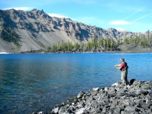 Fly fishing in the caldera