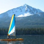 Kayak sailing at Four Mile Lake