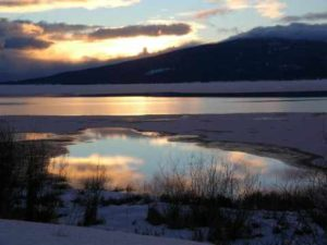 Winter sunset over Upper klamath Lake