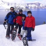 Family snowshoe at Crater Lake